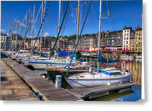 The Honfleur Marina Greeting Card by Tim Stanley