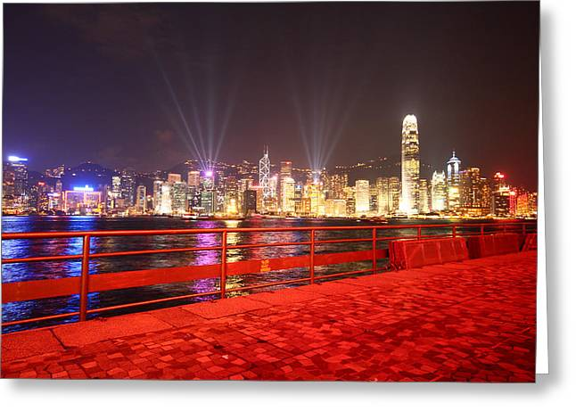 The Hong Kong City Skyline At Night Greeting Card by Ash Sharesomephotos