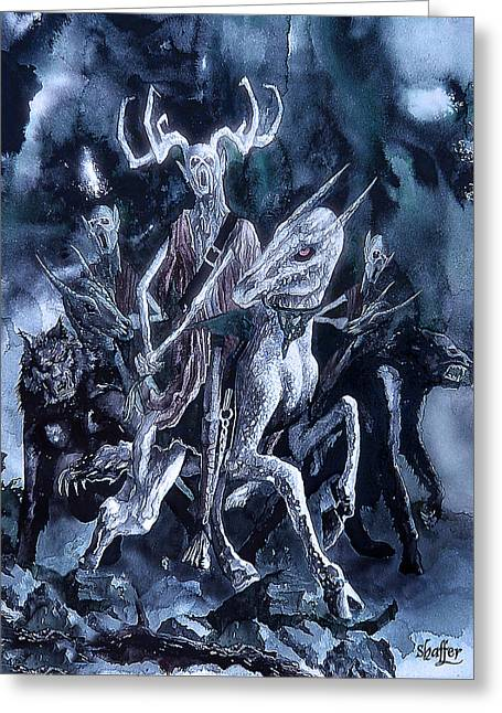 Greeting Card featuring the painting The Horned King 2 by Curtiss Shaffer