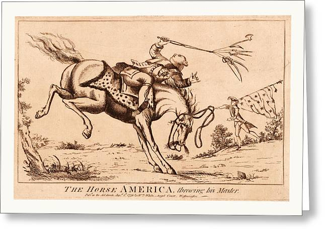 The Horse America, Throwing His Master, En Sanguine Greeting Card by Litz Collection