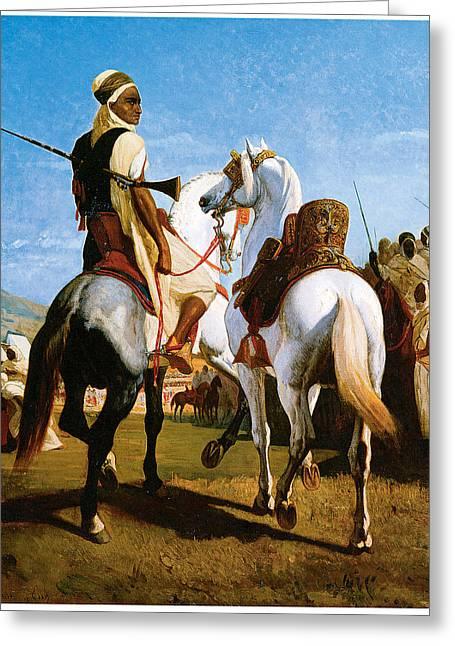 The Horse Of Gaada Greeting Card by Eugene ginain