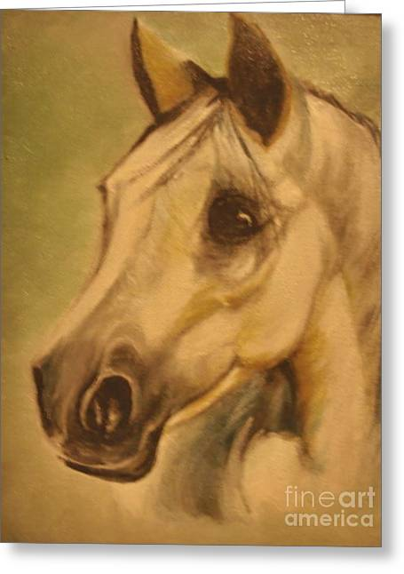 Greeting Card featuring the painting The Horse by Sorin Apostolescu