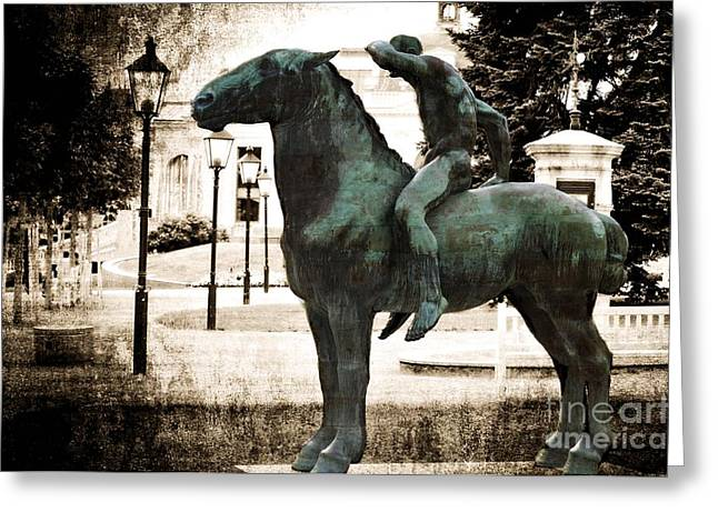 The Horseman Greeting Card by Mary Machare