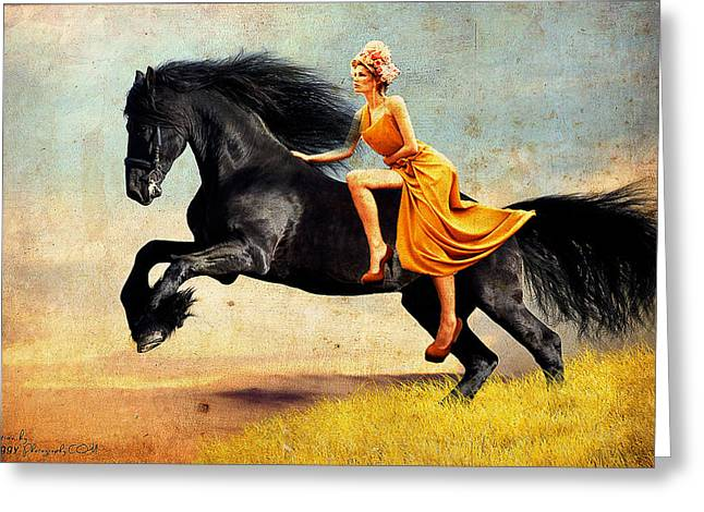 The Horsewoman Greeting Card by Rick Buggy