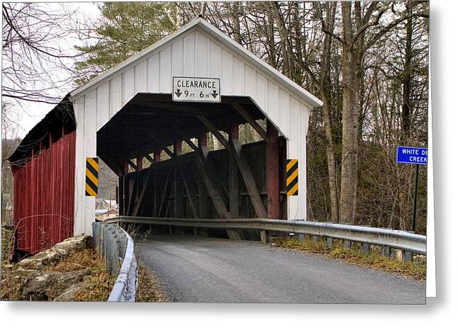 The Horsham Covered Bridge Greeting Card by Gene Walls