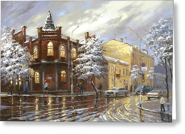 Greeting Card featuring the painting The House 44 Or Silver Night by Dmitry Spiros