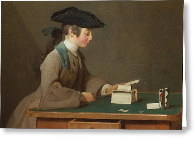 The House Of Cards Greeting Card by Jean-Simeon Chardin