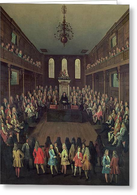 The House Of Commons In Session, 1710 Oil On Canvas Greeting Card by Peter Tillemans