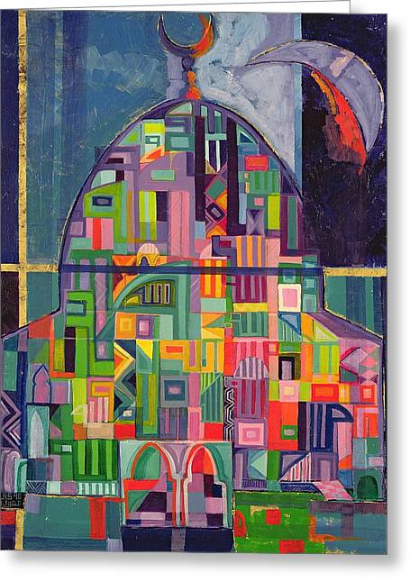 The House Of God, 1993-94 Acrylic & Gold Pigment On Canvas Greeting Card by Laila Shawa