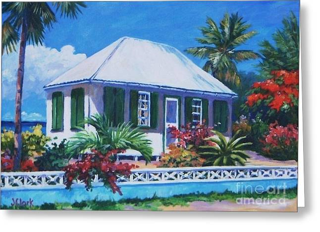 The House With Green Shutters Greeting Card