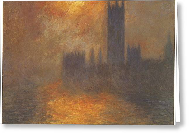 The Houses Of Parliament Sunset Greeting Card by Claude Monet