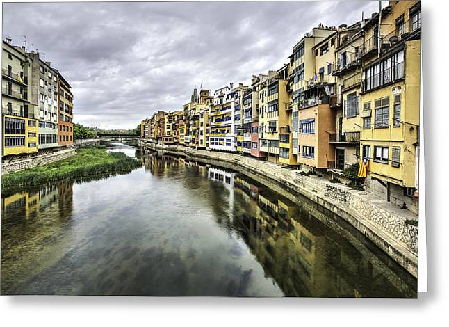 The Houses On The River Onyar In Catalonia Greeting Card