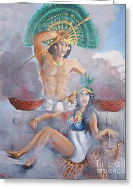 The Huey Tlatoni Or Emperor And Wife Greeting Card