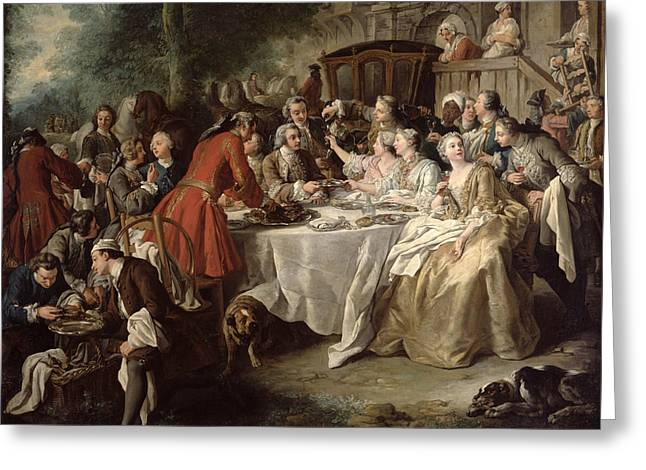 The Hunt Lunch, Detail Of The Diners Greeting Card by Jean Francois de Troy