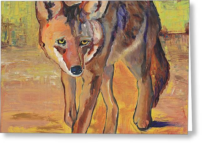 Coyote Hunting Greeting Card by Pat Saunders-White