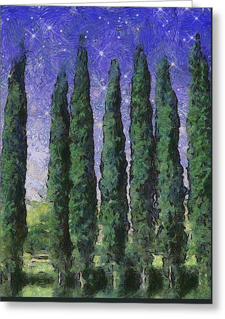 Greeting Card featuring the digital art The Hushed Poetry Of Trees In The Night by Wendy J St Christopher