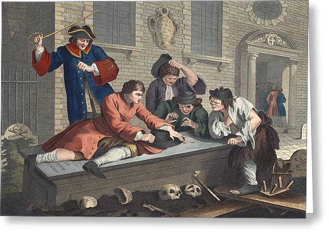 The Idle Prentice At Play In The Church Greeting Card by William Hogarth