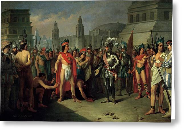 The Imprisonment Of Guatimocin By The Troops Of Hernan Cortes, 1856 Oil On Canvas Greeting Card