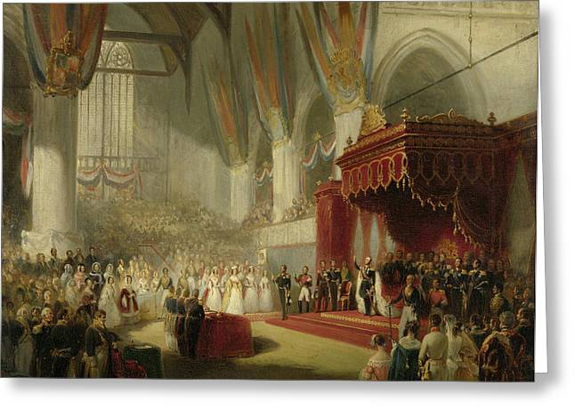 The Inauguration Of King William II In The Nieuwe Kerk Greeting Card by Quint Lox