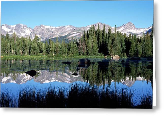 The Indian Peaks Reflected In Red Rock Greeting Card