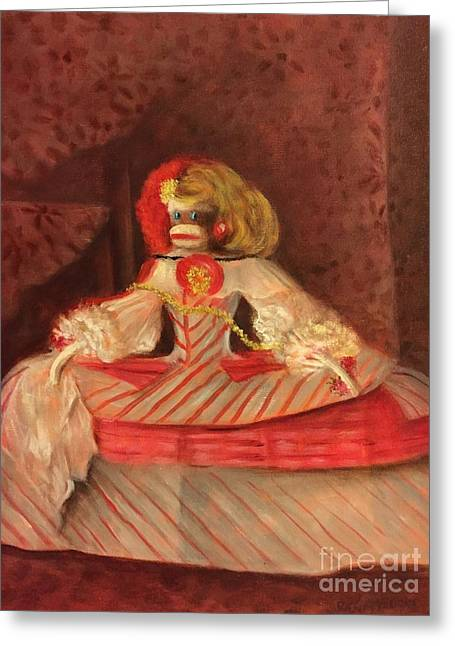 Greeting Card featuring the painting The Infant Margarita by Randol Burns