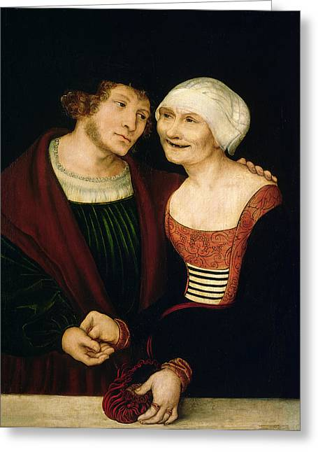 The Infatuated Old Woman Greeting Card by Lucas, the Elder Cranach