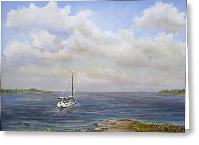 Greeting Card featuring the painting The Inlet by  Luczay