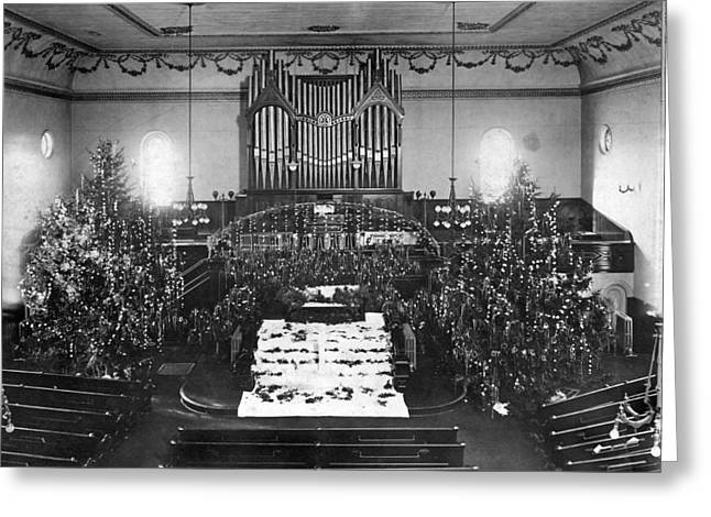 The Interior Of A Church Decorated For Christmas. Greeting Card by Underwood Archives