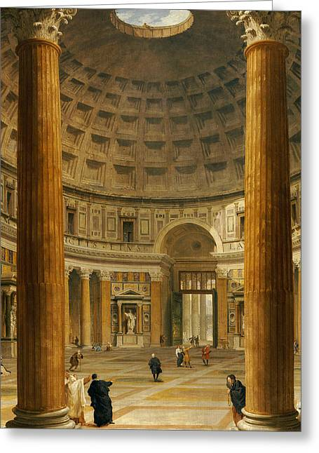 The Interior Of The Pantheon Greeting Card by Giovanni Paolo Panini