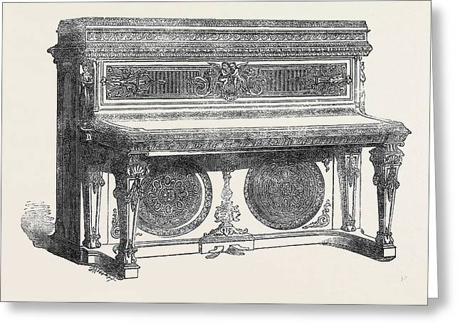 The International Exhibition Oblique Grand Pianoforte Greeting Card by Collard And Collard, English School