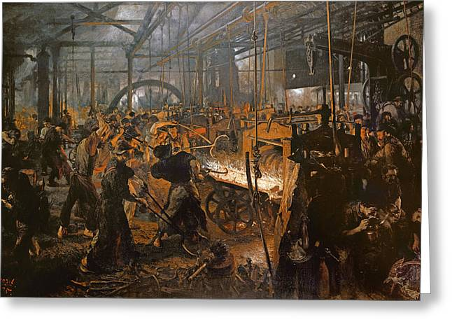 The Iron-rolling Mill Oil On Canvas, 1875 Greeting Card by Adolph Friedrich Erdmann von Menzel