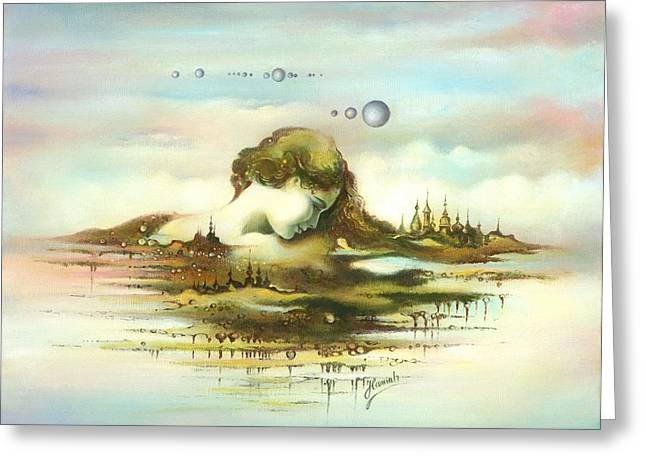 Greeting Card featuring the painting The Island by Anna Ewa Miarczynska