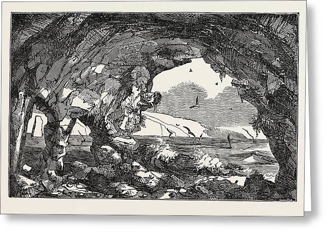 The Isle Of Wight Freshwater Cavern Greeting Card by English School