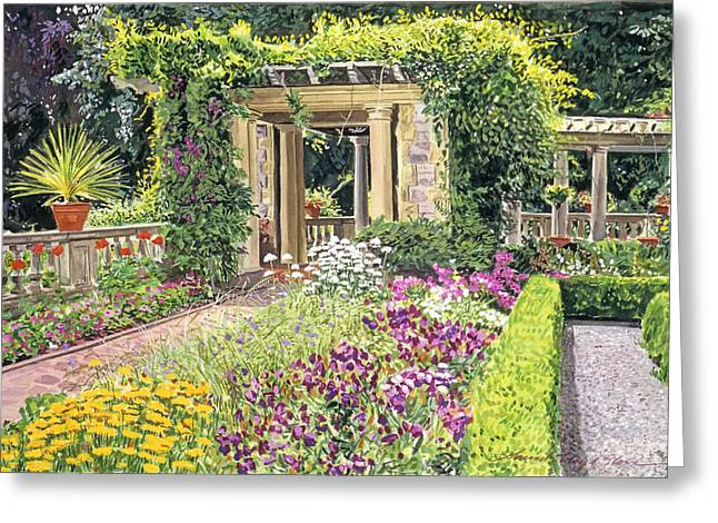 The Italian Gardens Hatley Park Greeting Card by David Lloyd Glover