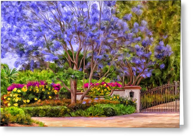 Greeting Card featuring the painting The Jacaranda by Michael Pickett