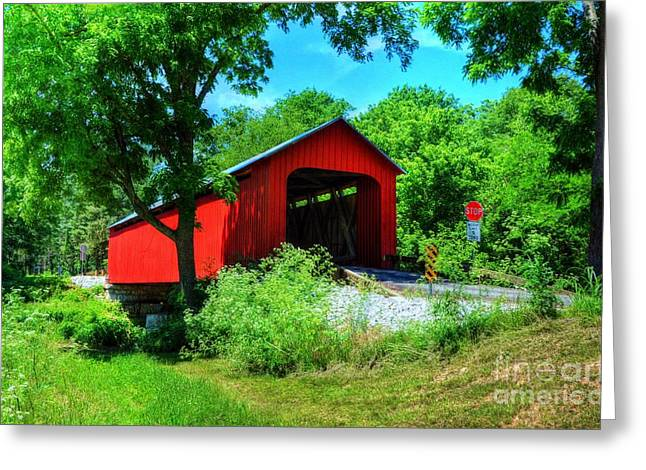 The James Covered Bridge Greeting Card by Mel Steinhauer