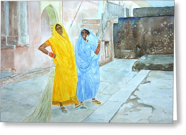 The Janitors Of Amber Fort Greeting Card