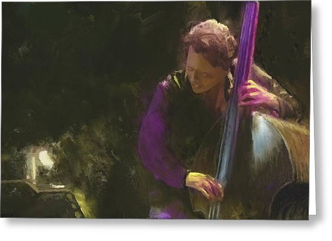 The Jazz Bassist Greeting Card