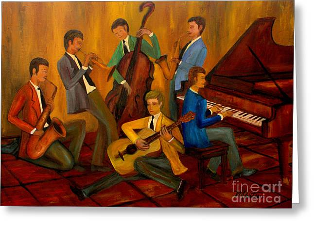 The Jazz Company Greeting Card by Larry Martin