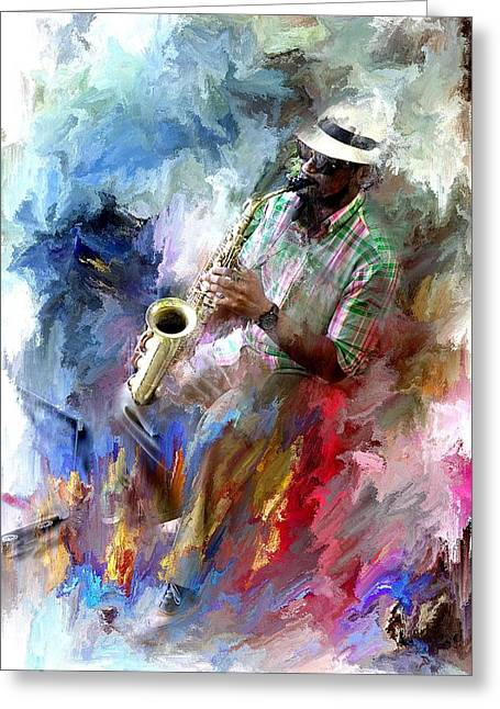 The Jazz Player Greeting Card by Evie Carrier