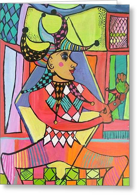 The Jester Greeting Card by Janet Ashworth