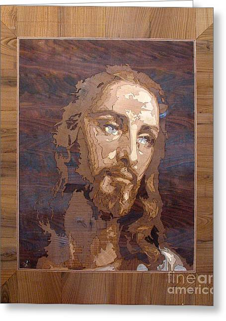 The Jesus Christ Marquetry Wood Work Greeting Card by Persian Art