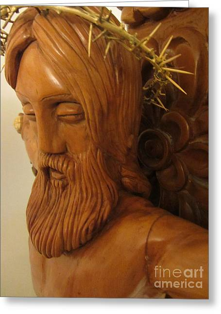The Jesus Christ Sculpture Wood Work Wood Carving Poplar Wood Great For Church 3 Greeting Card by Persian Art
