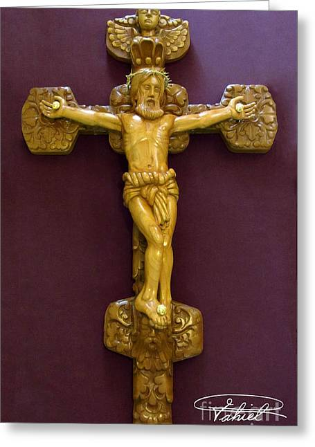 The Jesus Christ Sculpture Wood Work Wood Carving Poplar Wood Great For Church Greeting Card by Persian Art