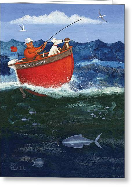 The Jolly Angler Greeting Card by Peter Adderley