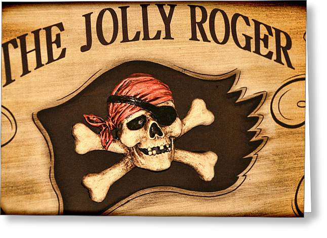 The Jolly Roger Greeting Card by Kathy Clark