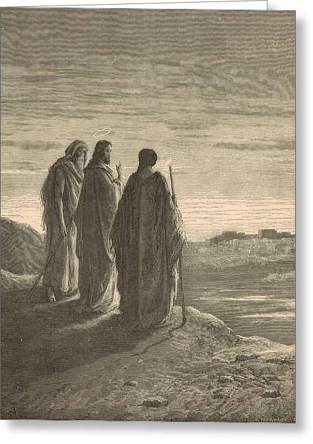 The Journey To Emmaus Greeting Card by Antique Engravings