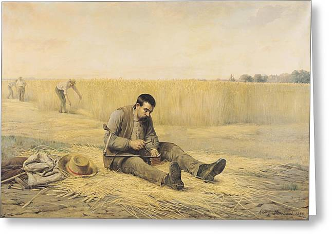 The Journeyman Oil On Canvas Greeting Card by Henri Pluchart