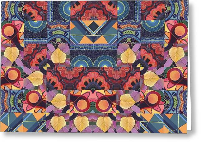 The Joy Of Design Mandala Series Puzzle 5 Arrangement 1 Greeting Card by Helena Tiainen
