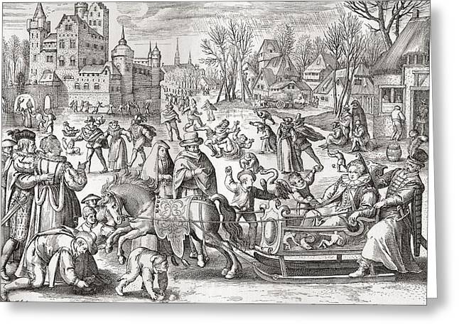 The Joys Of Winter, After The 16th Century Engraving By De Bruyn.  From Illustrierte Greeting Card by Bridgeman Images